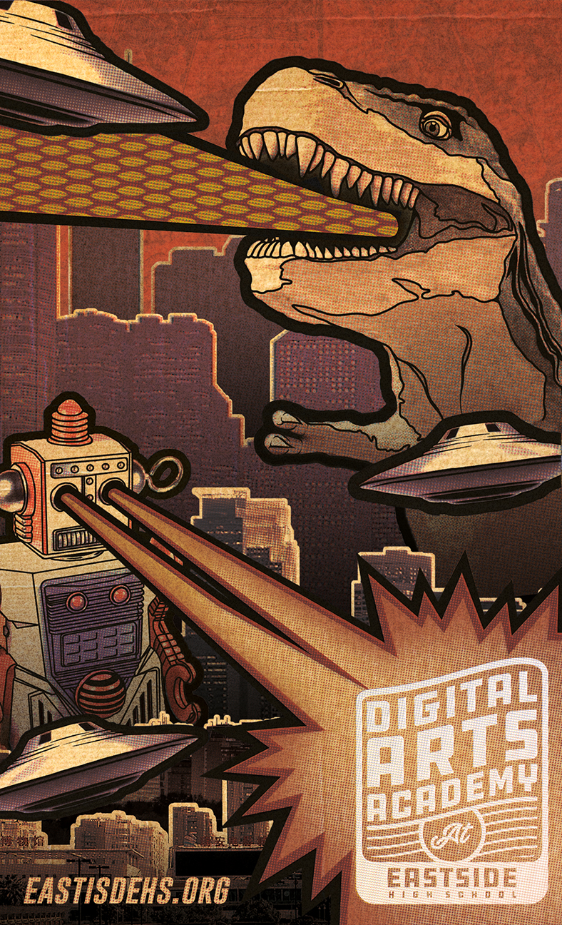 Digital Arts Academy Design. Image of a Dinosaur and a Robot fighting off flying saucers, with the Digital Arts Academy Logo at the bottom right.