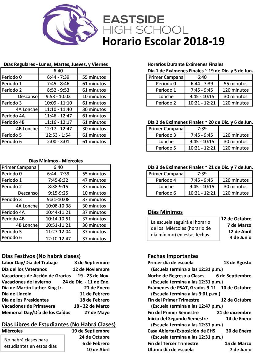 Bell Schedule - Eastside High School